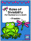 Rules of Divisibility Practice Page Set -- FREEBIE