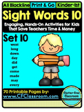 SIGHT WORDS:SET 10 {games printables flashcards activities