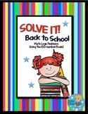 SOLVE IT! Back to School Math Logic Problems Using 100-num