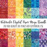 Watercolor Digital Paper Lover Mega Bundle