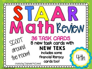 STAAR Math Review Grade 4-Task Cards Around the Room