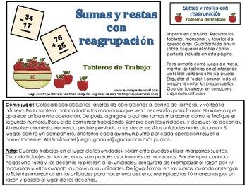 SUMAS Y RESTAS CON REAGRUPACION. TABLEROS DE TRABAJO.