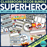 SUPERHERO Theme Classroom Decor Bundle EDITABLE by Clutter
