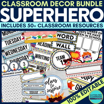 SUPERHERO Classroom Theme EDITABLE Decor 34 Printable Product Bundle