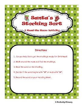 "Santa's Stocking Sort - A ""st"" read the room activity"