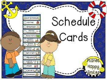 Schedule Cards with Clocks ~ Nautical