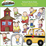 School Stick Kids Clip Art