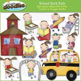 School Stick Kids Clip Art
