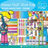 School Stuff Stick Kids - Clipart for Teaching