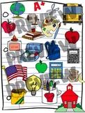 Schoolhouse Clipart Set - Back to School Clip Art for Augu
