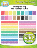 Scribble Rainbow Shop Banners and Icons Clip Art Set — Ove