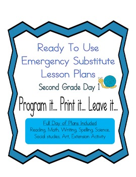 Second Grade Editable Elementary Substitute, Emergency Les