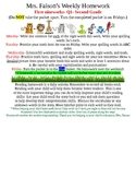Second Grade Homework for first nine weeks