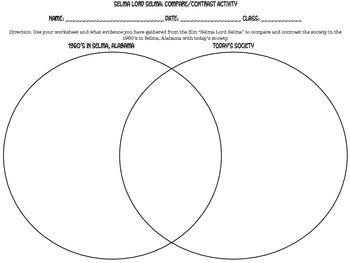 """""""Selma Lord Selma"""" Venn Diagram Activity"""