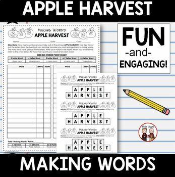 September Apple Harvest Making Words Spelling Activity