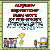 August ~ September Busy Work Pack for First Graders {Back