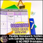 September Homework 3rd Grade{Homework Menu & Printables}Ed