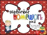 September Homework Pack for Kindergarten