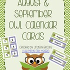 August / September Owl Calendar Cards and Headers (Back to