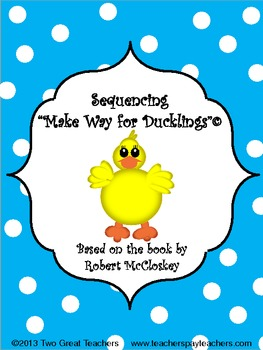 """Sequencing """"Make Way For Ducklings"""""""