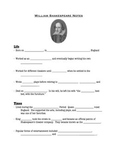 Shakespeare PowerPoint Fill-in Notes Sheet