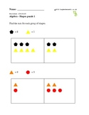 Shapes puzzle for 1st graders to practice algebraic concepts