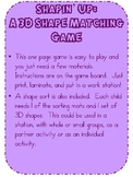 Shapin' Up: A Solid Shape Matching Game