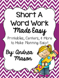 Short A Word Work Made Easy {Printables, Centers, & More!}