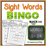 sight-words {BINGO-words 1 through 24 BLACK ink}