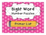 Sight Word Number Puzzles {Primer Dolch Words}