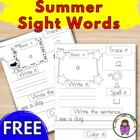 Sight Word Practice Pages:  Dolch Free Sample