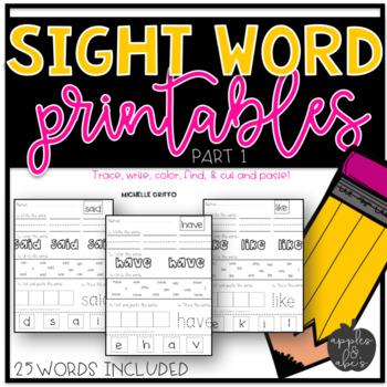 Sight Word Practice for Kindergarten