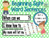 Sight Word Sentences: Literacy Center Set 2- actions and animals