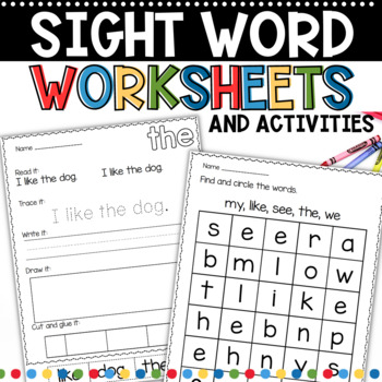 sight word work for kindergarten