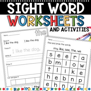 sight word work for kindergarten