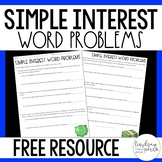 Simple Interest Word Problems Worksheet