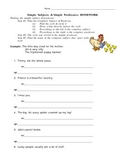 Simple Subject & Predicate Homework (Worksheet)