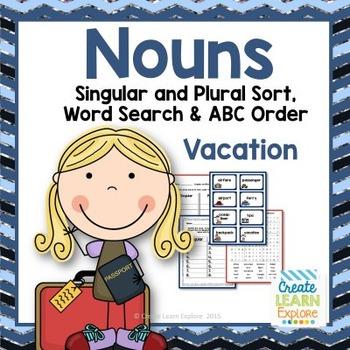 Singular and Plural Noun Sort: Vacation