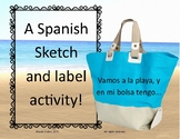 Sketch and Label Spanish Beach Words, Playa, Summer Vocabu