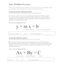 Slope Intercept Form and Standard Form Story Problem Overview