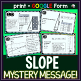 Slope Task Cards MYSTERY MESSAGE: Comparing Slope in Diffe