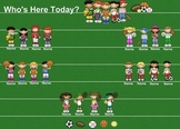 SmartBoard Attendance/Student Check-In Sports Kids Theme