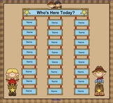 SmartBoard Attendance/Student Check-In Western Cowboy Theme