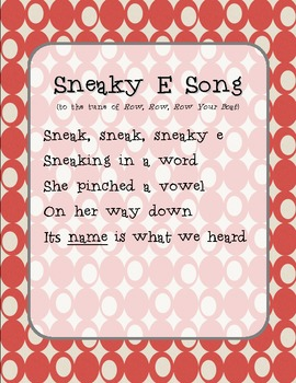 Sneaky E Song and Graphic Organizer Packet silent e magic e
