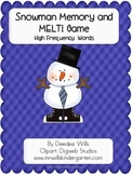 Snowman Memory Match Up and Melt Popcorn Words-editable