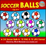 FREE Sassy Soccer Balls Clipart Set- Bright and Colorful!