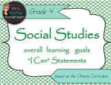 "Social Studies Gr 4 Learning Goals ""I Can"" Statements (Ont"