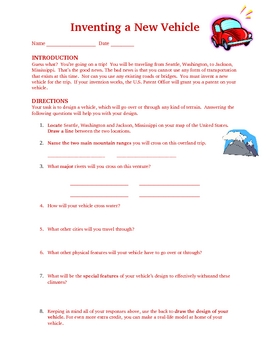 Social Studies Map Skills Invent a New Vehicle- Gifted Students
