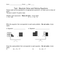 Solving Equations Test - 4 Versions