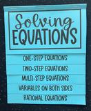 Solving Equations in Algebra 1 (Foldable)